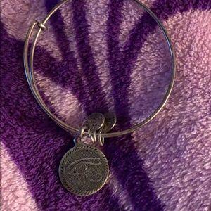 Alex and Ani Eye of Horus silver charm bangle